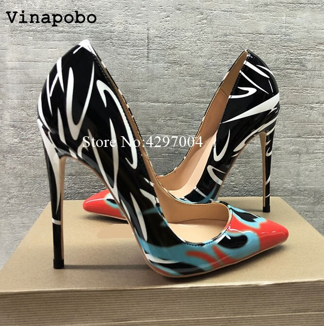 Woman Shoes Fashion Leaves Printing Ladies Sexy Stiletto Female .