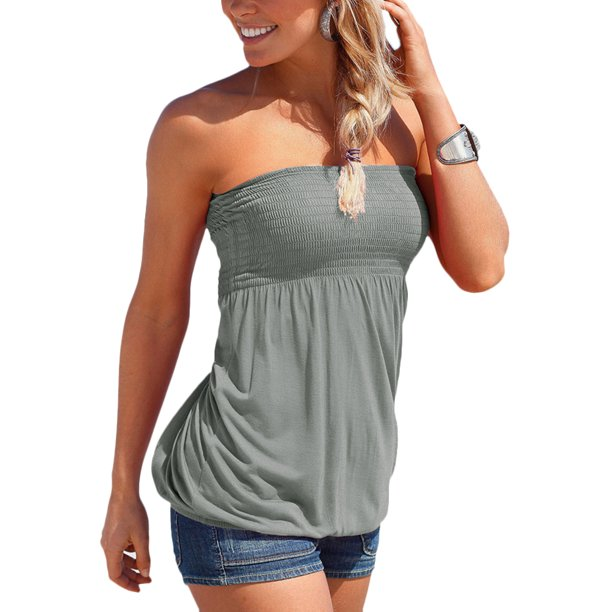 HiMONE - New Sexy Boho Strapless Tops Shirt For Women Girls Ladies .