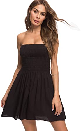 Strapless Tops for Women Tube Top Cotton Summer Beach Dresses at .