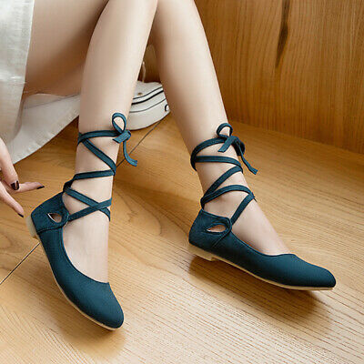 Ankle Strappy Flats Shoes comfort loafers womens ballerinas round .