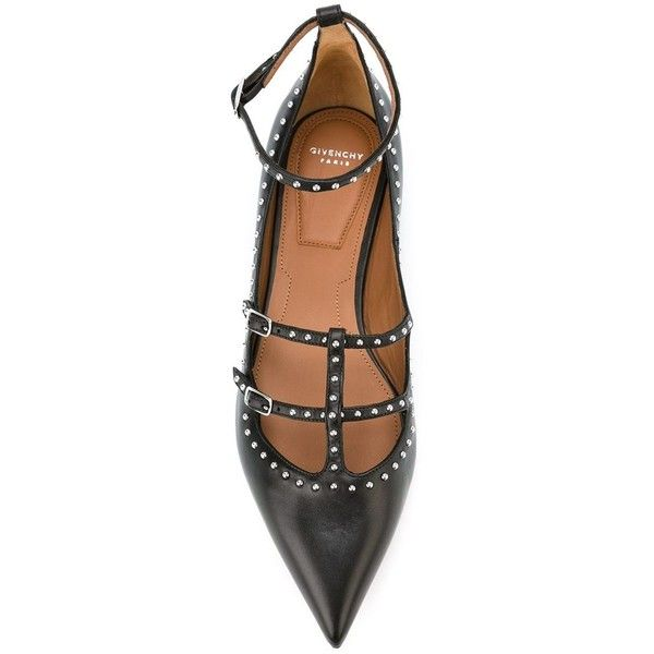 Givenchy studded strappy ballerinas (5,350 CNY) ❤ liked on .