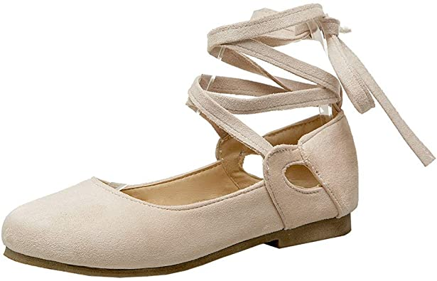 Amazon.com | LUXMAX Womens Ankle Wrap Ballet Flats Strappy .