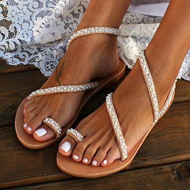 Women's Diagonally-Wrapped Strappy Sandals - Miniature Pearls .