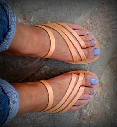 Greek Sandals, Slip on Sandals, Summer Flats, Leather Sandals .