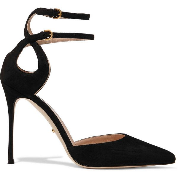 Sergio Rossi Cutout suede pumps ($423) ❤ liked on Polyvore .