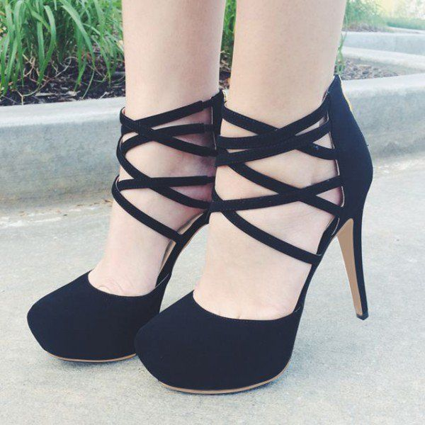 Women's Style Pumps Black Ankle Strap Stiletto Heels Pumps Women's .