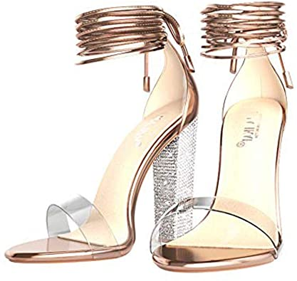 Amazon.com | LALA IKAI Rose Gold Clear Block Heels Sandals for .