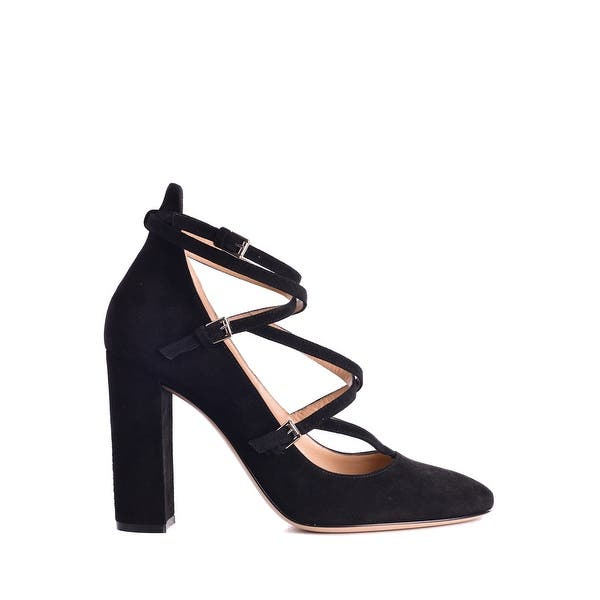 Shop Gianvito Rossi Women's Black Suede Strappy Pumps - Overstock .