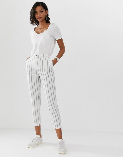 ASOS DESIGN striped linen slim cigarette pants | AS