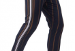 Navy Vertical Striped Pants with Side Stripes | Mens pants fashion .