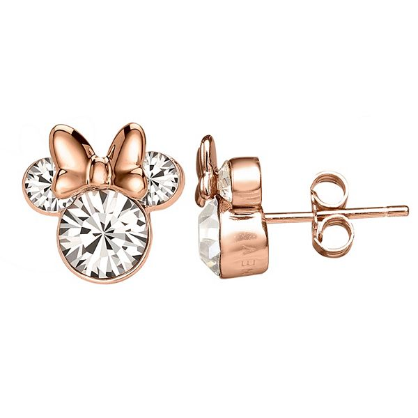 Disney's Minnie Mouse Rose Gold Tone Sterling Silver Crystal Stud .