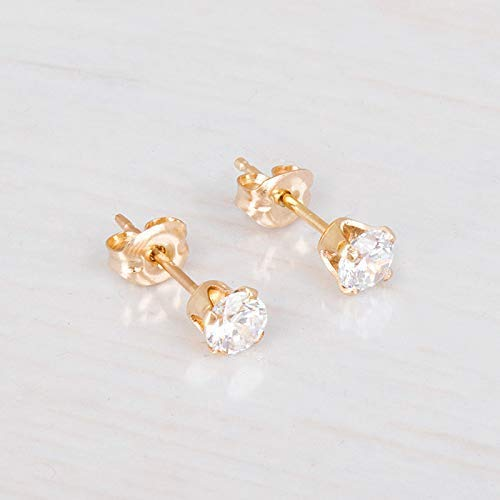 Amazon.com: Gold Filled Zircon Diamond Stud Earrings - Small CZ .
