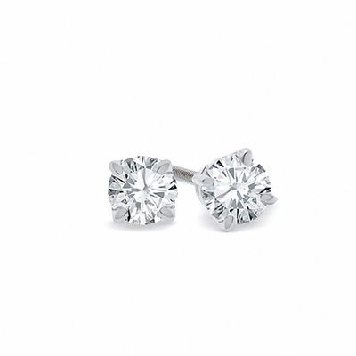 1 CT. T.W. Certified Diamond Solitaire Stud Earrings in 18K White .