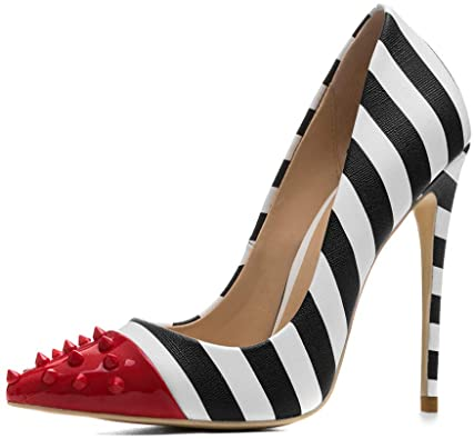 Amazon.com | Women's Stiletto Pumps Studded Zebra Print high Heels .