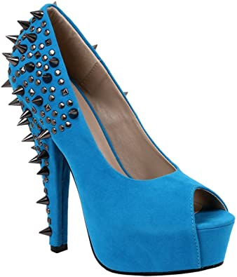 Amazon.com | Daring Bright Blue Spiked and Studded Pumps Women's 6 .
