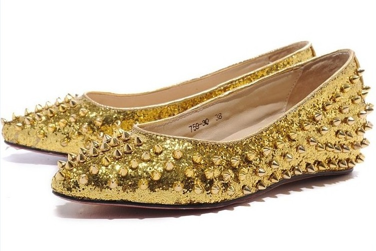 Christian Louboutin Studded Shoes Gold Women - $228.00 : Christian .