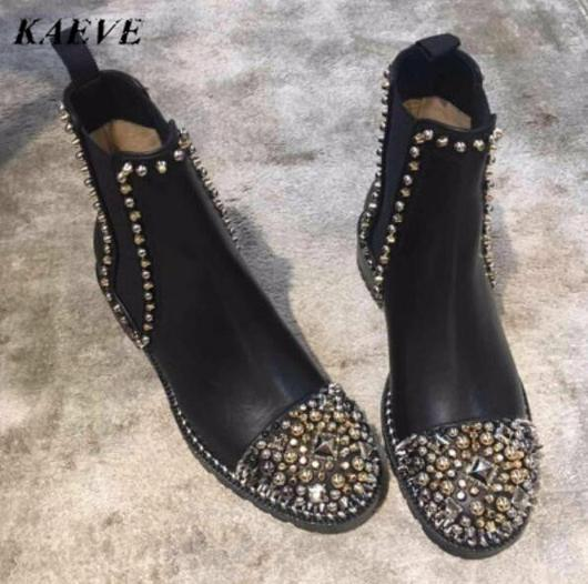 2018 New Women Chunky High Heels Winter Studded Shoes Short Boots .