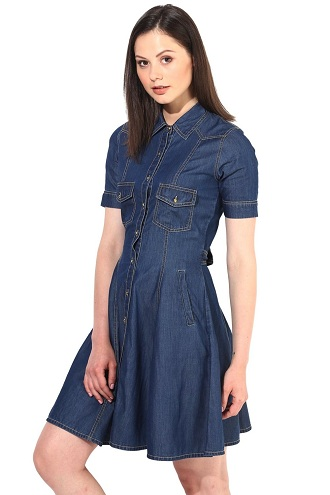 15 Fashionable Denim Dress Designs for Ladies with Imag