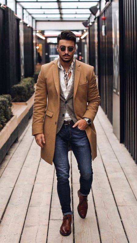 40 mens winter work outfit styles with winter boots. Brown .