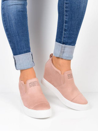 Women's High Platform Slip On Loafers Casual Comfort Suede Shoes .