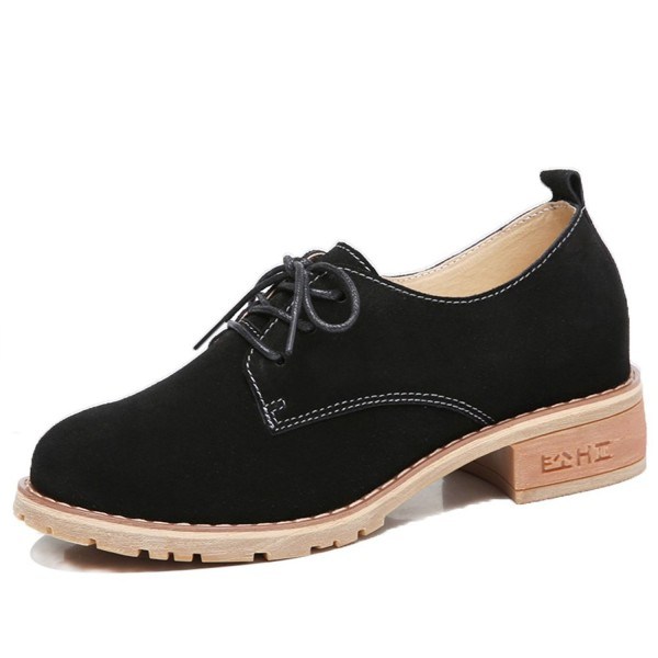 Women Fashion Suede Leather Sneakers Chunky Heel Dress Oxfords .