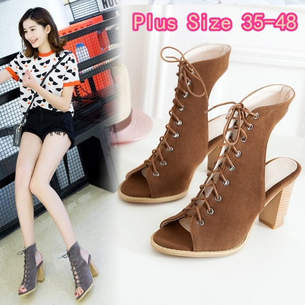 Plus Size 35-48 New Fashion Women Summer Boots Sexy Ladies Peep .