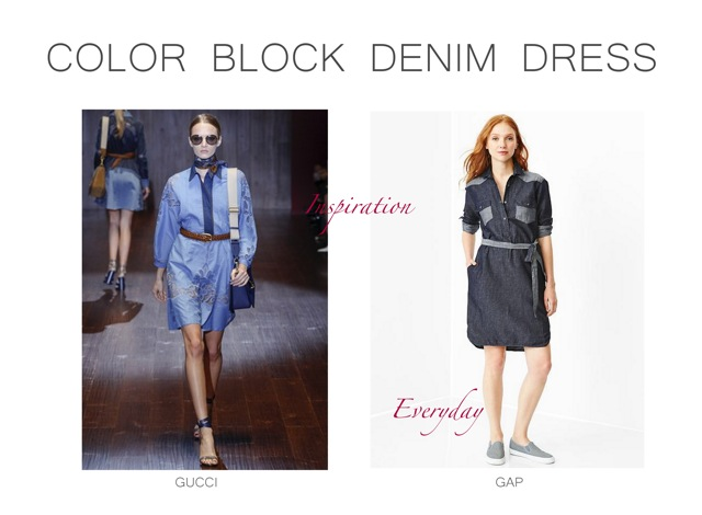 Gucci Spring Summer 2015 Colorblock denim dress Inspiration .