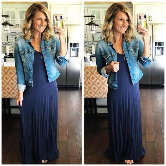 Summer Outfit Inspiration // Maxi Dress with Denim Jacket // How .