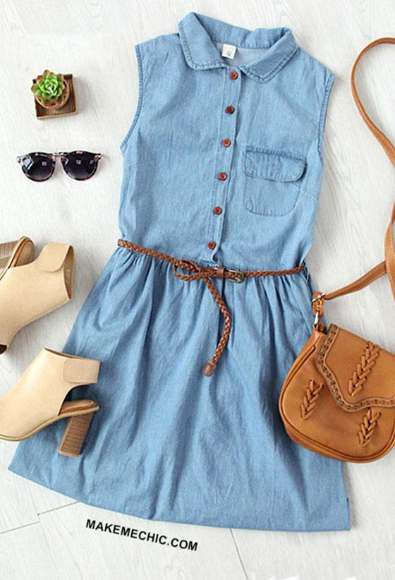 Sleeveless Denim Dress With Braided Belt | Sleeveless denim dress .