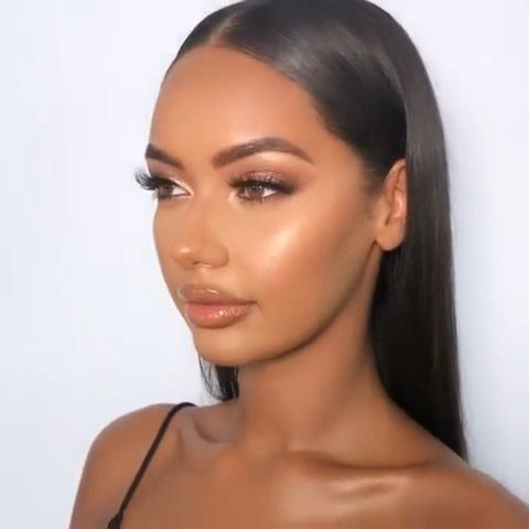 Shimmery and Natural Summer Makeup in 2020 | Dark skin makeup .