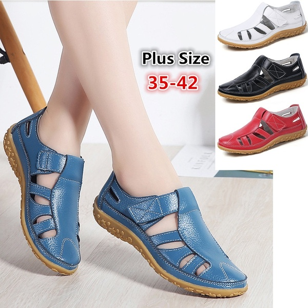 Women Gladiator Sandals Shoes Genuine Leather Hollow Out Flat .