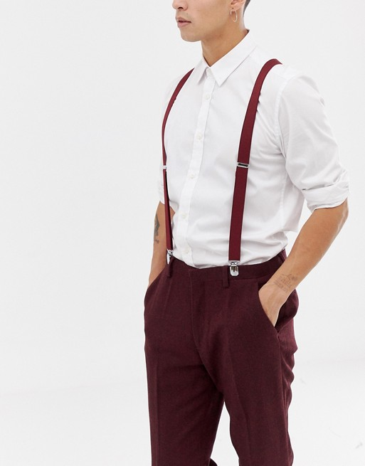 ASOS DESIGN wedding suspenders in burgundy | AS
