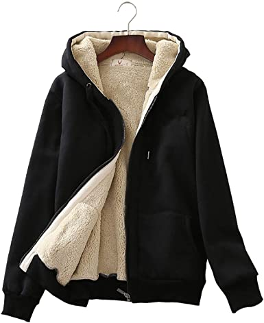 Flygo Women's Casual Winter Warm Thick Sherpa Fleece Lined Zip Up .