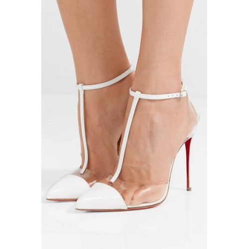Christian Louboutin Nosy 100 patent-leather and PVC T-bar pumps .