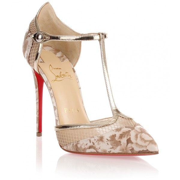Christian Louboutin Mrs Early Beige T-Bar Pump featuring polyvore .