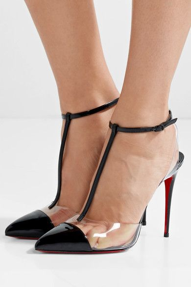 Christian Louboutin - Nosy 100 Patent-leather And Pvc T-bar Pumps .