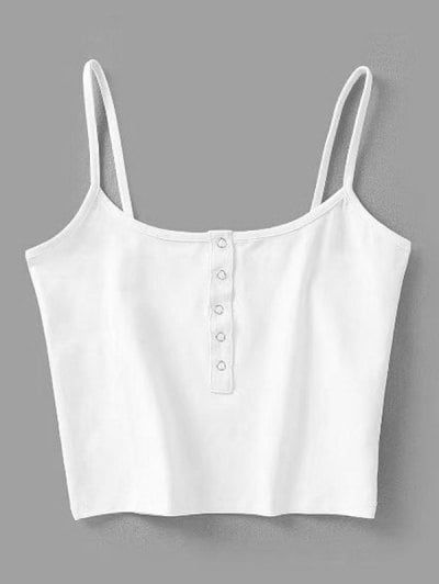 Cropped Snap Button Tank Top | Tank top outfits, Cute tank tops .