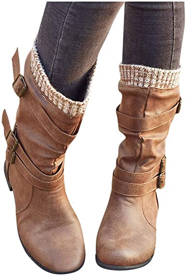 Amazon.com: Gibobby Womens Boots Low Heel Womens Winter Thermal .