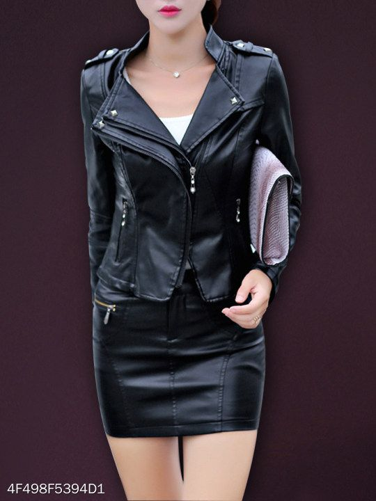 Band Collar Zipper Plain Jacket fashion, women,fashion,fashionable .