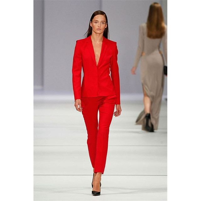 Custom Made Women's Trouser Suit Red OL Ladies Pant Suit Botched .