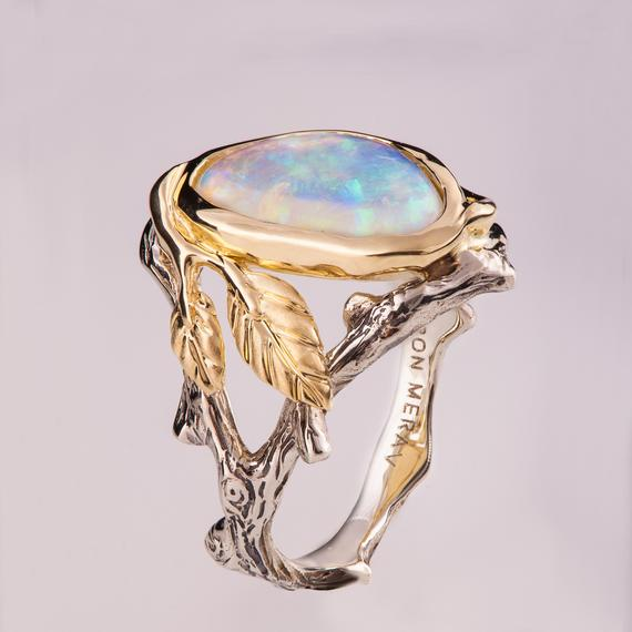 Twig and Leaf Engagement Ring Opal engagement ring Unique | Et