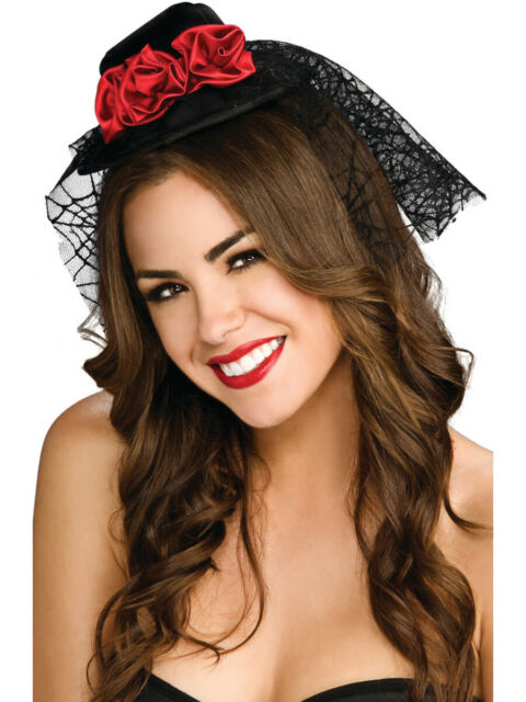 Black Red Roses Mini Top Hat Lace Veil Womens Costume Accessory .