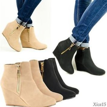 Women's Ankle Boots Wedge Heel Almond Toe from Xica