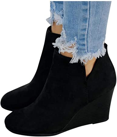 Amazon.com: Women's Wedges Ankle Booties Retro V Cutout Comfy .