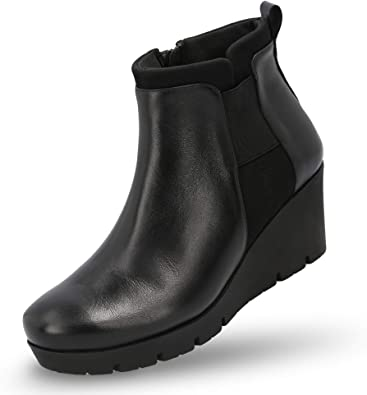 Amazon.com | MANET Leather Wedge Booties for Women - Women's Wedge .