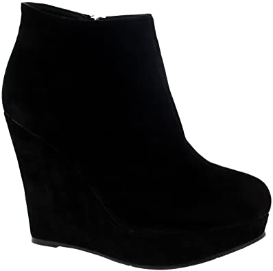 Amazon.com | Viva Womens High Wedge Heel Black Party Ankle Boot .