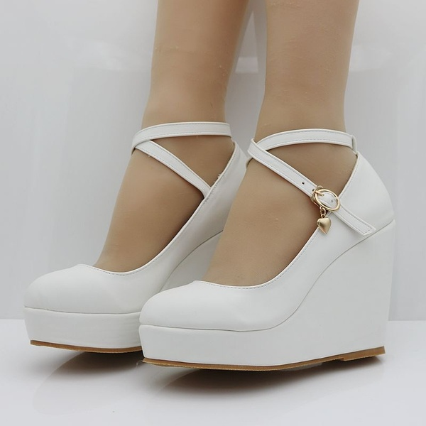 Akexiya White Wedges Shoes Pumps For Women Wedges High Heels .