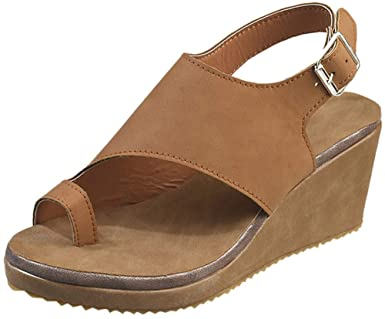 Amazon.com: BEAUTYVAN Wedges Mules for Women,Summer Ring Peep Toe .