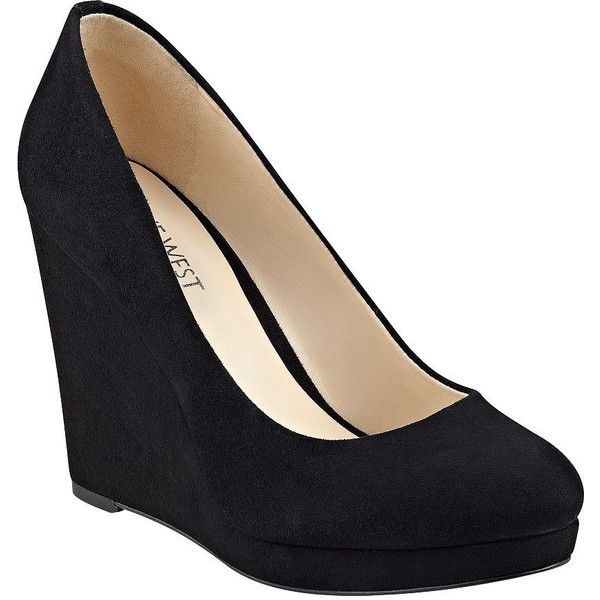 Nine West Halenia Suede Wedge Pumps ($99) ❤ liked on Polyvore .