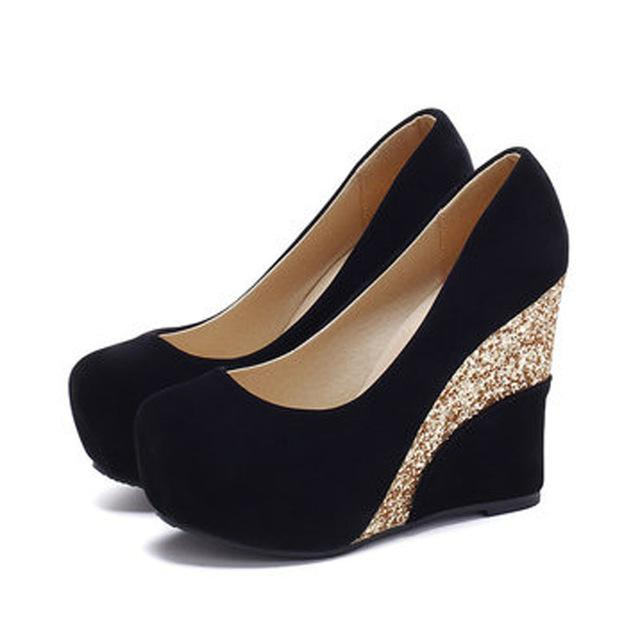 Casual Platform Vintage Flock Glitter Patchwork High Heels Women .